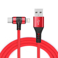 3 in 1 Multi Aufladen Kabel Lightning/Type C/Micro USB Kabel Red
