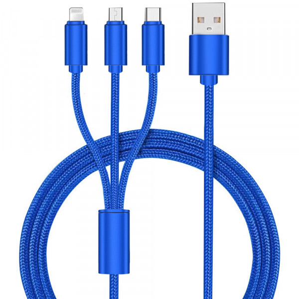 3 in 1 Multi Aufladen Kabel Lightning/Type C/Micro USB Kabel Blue